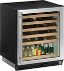 "24"" Built-in Wine Storage with 48-Bottle Capacity, Triple Temperature Zone, Slide-Out Beech-Trimmed Wine Racks, Interior Light and Thermopane Glass Door: Right-Hand Swing Door with Lock"
