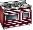 "48"" Traditional-Style Gas Range with 6 Sealed Burners, 2.9 cu. ft. European Convection Oven, 1.8 cu. ft. Auxiliary Oven, Manual Clean, Electric Griddle and Storage Drawer: Matte Burgundy, Natural Gas"