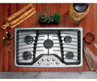 "36"" Gas Cooktop with 5 Sealed Burners, 17,000 BTU PowerBoil, Precise Simmer Burner, Heavy Cast Grates, Child Lock and LED Backlit Knobs"