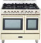 "36"" Pro-Style Gas Range with 5 Sealed Burners, 2 Turbo-Electric Convection Ovens, Manual Clean, Infrared Broiler, Bell Timer and Storage Drawer: Bisque"