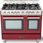 36 Inch Pro-Style Gas Range with 5 Sealed Burners, 2 Turbo-Electric Convection Ovens, Manual Clean, Infrared Broiler, Bell Timer and Storage Drawer: Burgundy Gloss