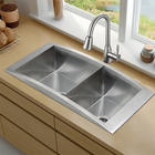 "36"" Flushmount Double Bowl Stainless Steel Sink with 11"" Bowl Depths, Sound-Deadening Insulation, Single Lever Pull-Down Faucet, 2 Strainers and Mounting Hardware Included"