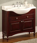 "36"" Contemporary Vanity with Cabinet Doors, Top U-Shaped Drawer and Optional 38"" Ceramic Countertops: Dark Cherry"