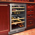 24 Inch Built-in Wine Storage Cabinet with 40 Bottle Capacity, 4 Telescopic Wood Shelves, 2 Fixed Shelves, 2 Temperature Zones and Intelligence Sensor Technology