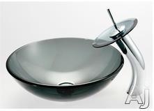 Kraus Clear Black Sink & Faucet Combination CGV10412MM10CH