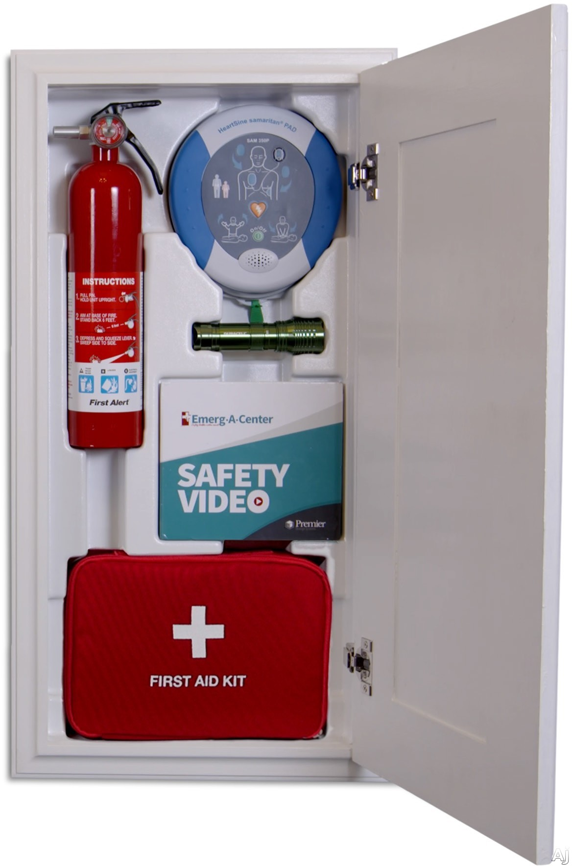 Iron A Way EACHO Safety Command Center with Automated External Defibrillator First Aid Kit Fire Extinguisher Flashlight and Instructional Video
