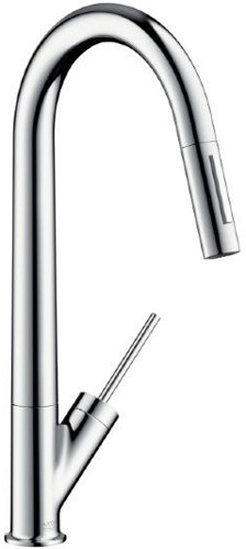 """Hansgrohe Axor Starck Series 10821 Single Lever Kitchen Faucet with 9-1 / 4"""" Reach, Ceramic, U.S. & Canada 10821"""