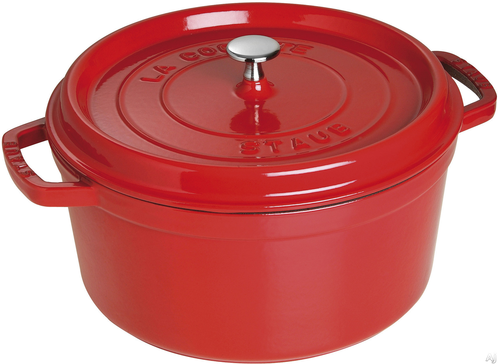 Staub 1102806 7 Quart Cast Iron Round Cocotte with Heavyweight Lid, Induction Suitable, Oven Safe, Made in France, Dishwasher Safe and Nickel Steel Knob: Cherry