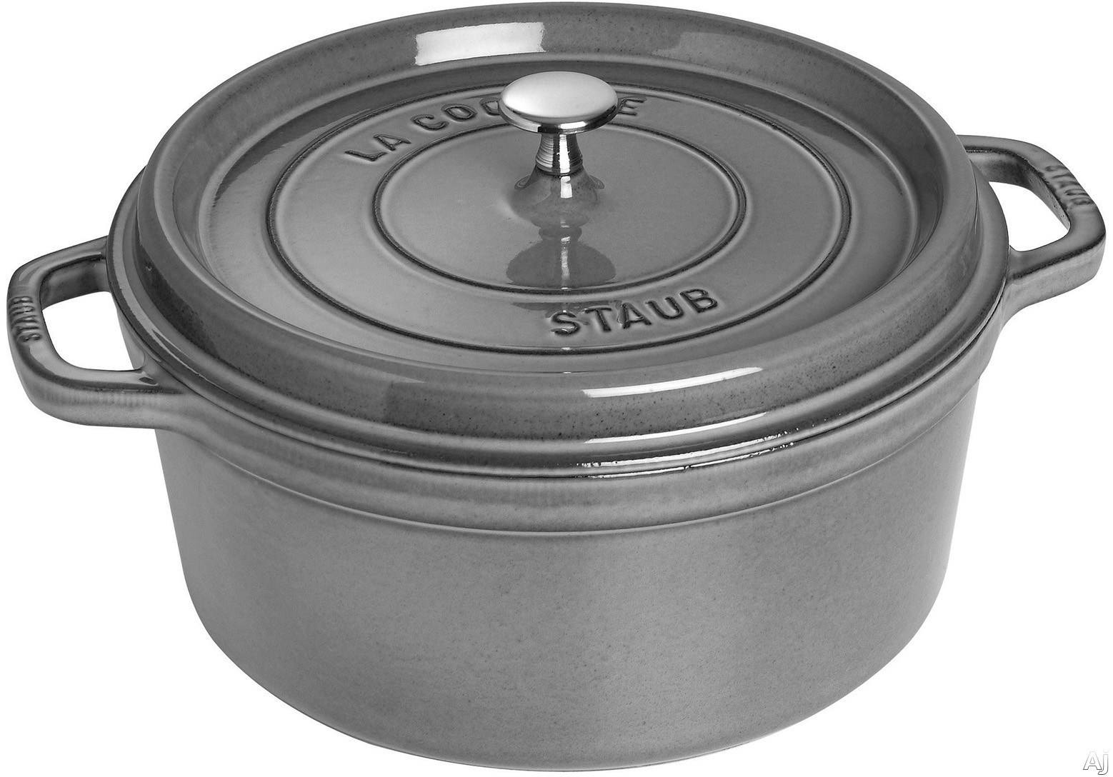Staub 1102818 7 Quart Cast Iron Round Cocotte with Heavyweight Lid, Induction Suitable, Oven Safe, Made in France, Dishwasher Safe and Nickel Steel Knob: Grey