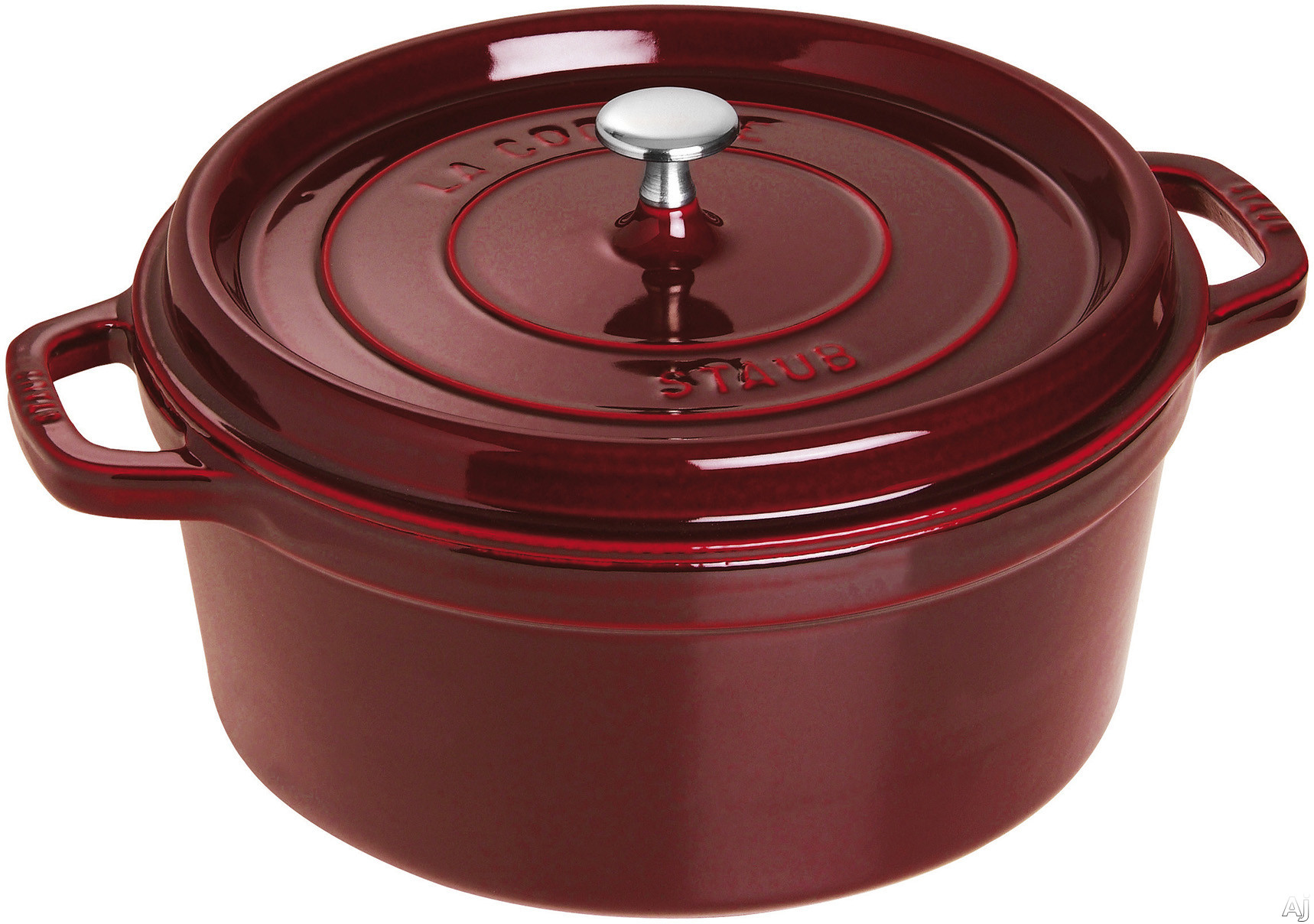 Staub 1102887 7 Quart Cast Iron Round Cocotte with Heavyweight Lid, Induction Suitable, Oven Safe, Made in France, Dishwasher Safe and Nickel Steel Knob: Grenadine