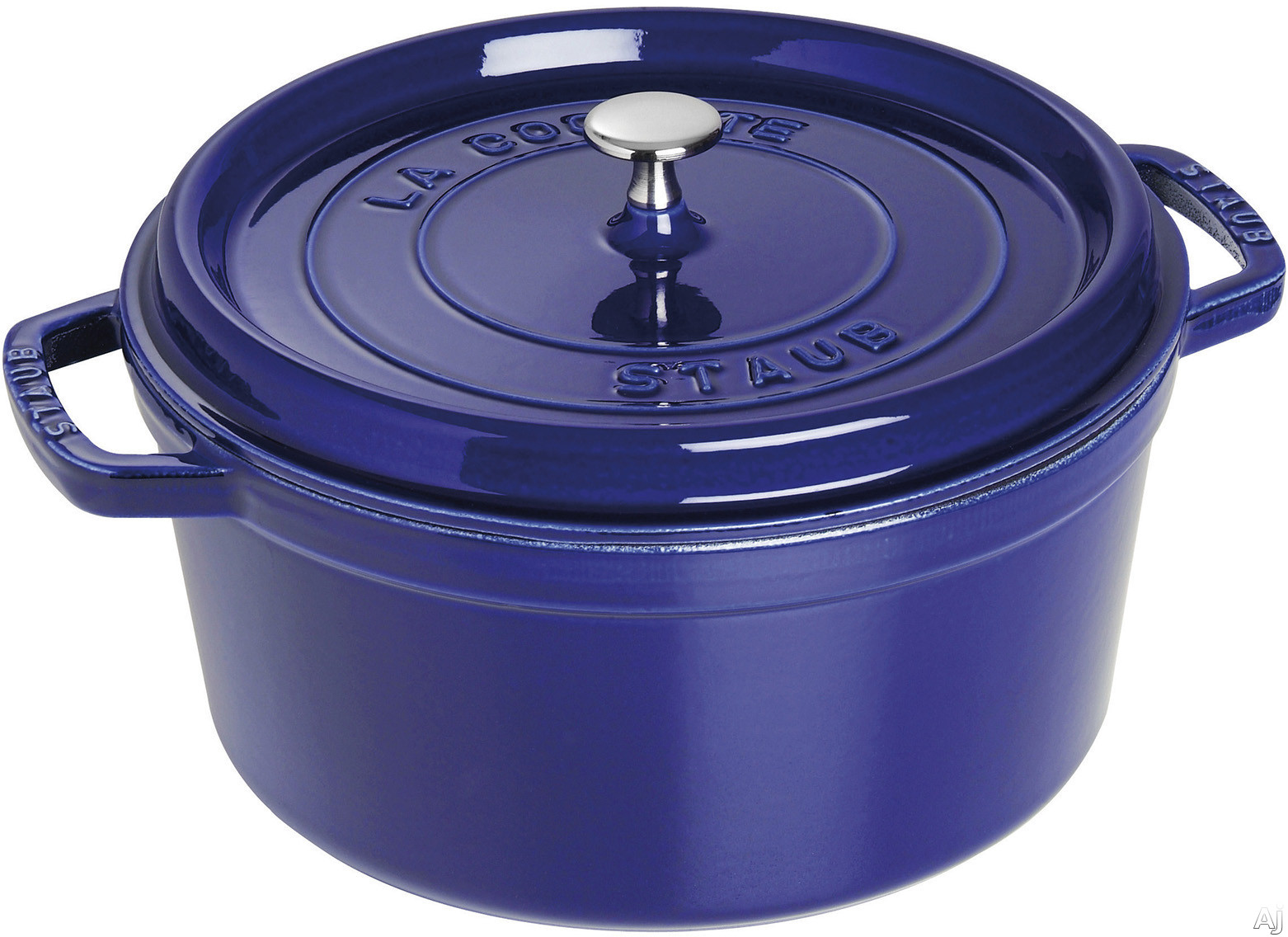 Staub 1102891 7 Quart Cast Iron Round Cocotte with Heavyweight Lid, Induction Suitable, Oven Safe, Made in France, Dishwasher Safe and Nickel Steel Knob: Dark Blue