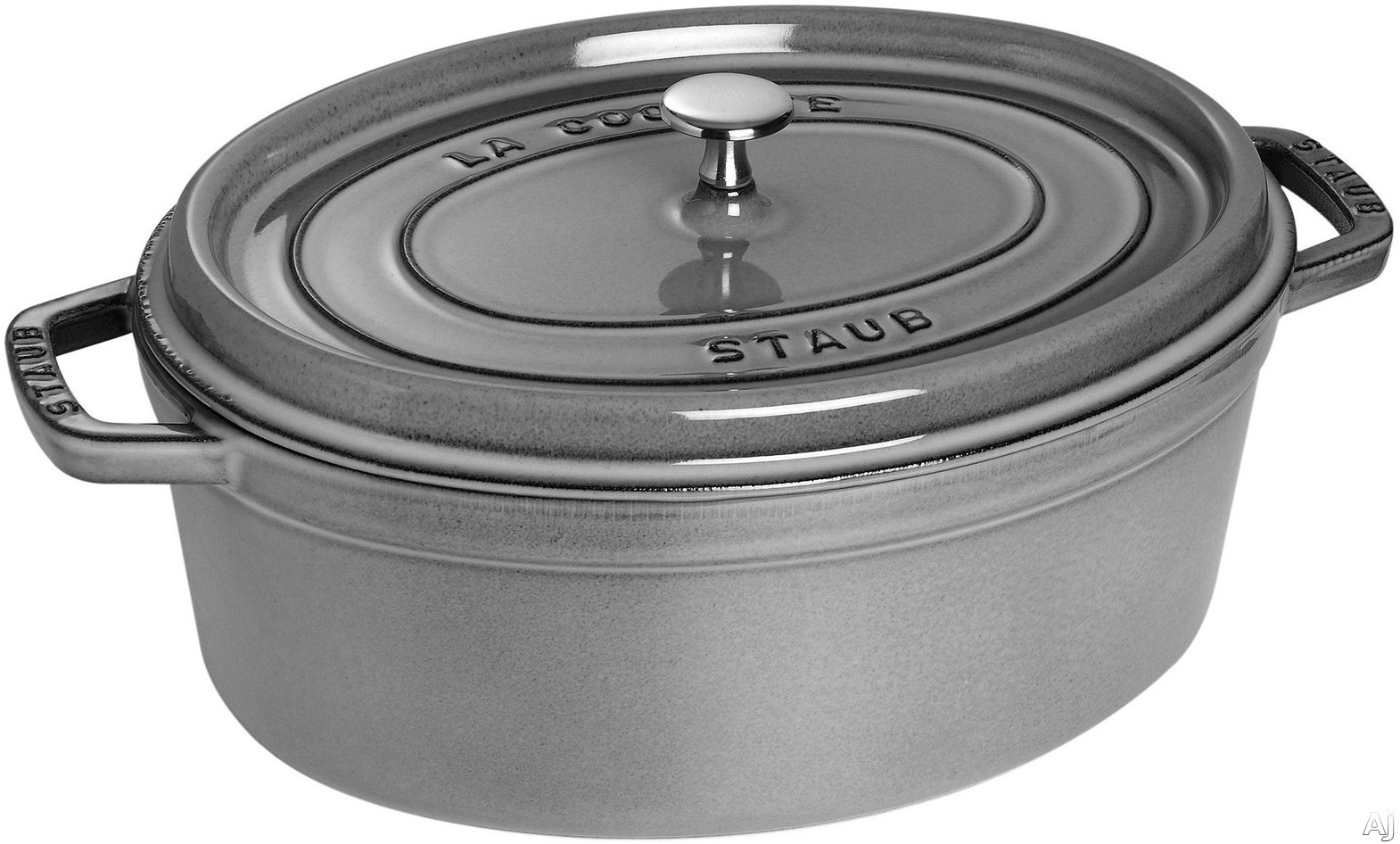 Staub 1103318 7 Quart Cast Iron Oval Cocotte with Heavyweight Lid, Induction Suitable, Oven Safe, Made in France, Dishwasher Safe and Nickel Steel Knob: Grey