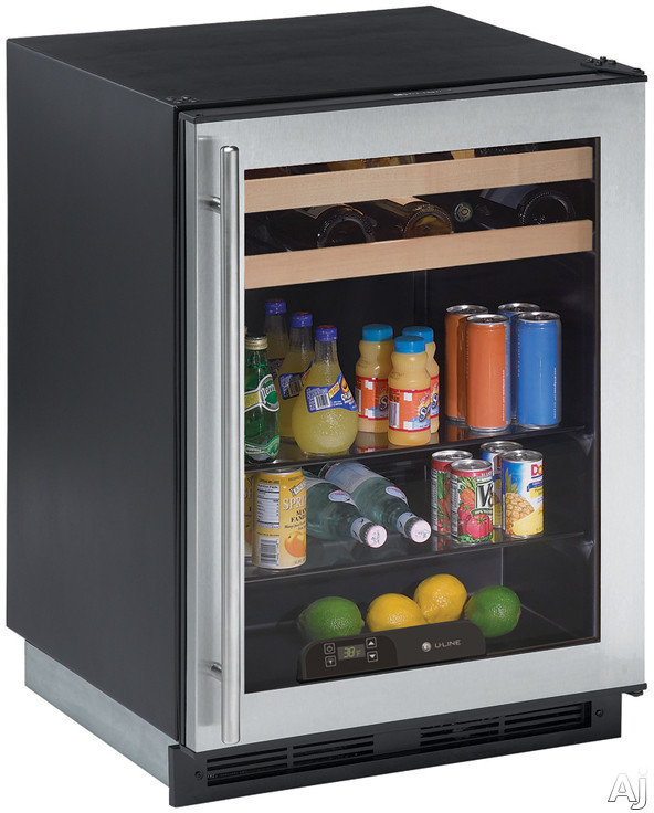 "U Line 1000 Series 1175BEVS15 24"" Beverage Center with Dual Cooling Zones, 2 Beech-Trimmed Wine, U.S. & Canada 1175BEVS15"
