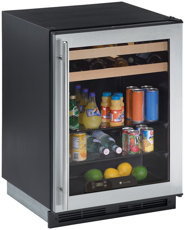 U Line 1000 Series 1175BEV 24 Inch Beverage Center with Dual Cooling Zones 2 Beech Trimmed Wine Racks 2 Glass Shelves Touch Pad Digital Controls and Glass Door