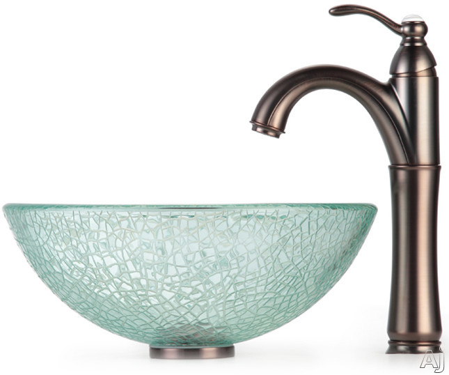 "Kraus Broken Glass Series CGV5001412MM1005ORB 14"" Broken Glass Vessel Sink with Riviera Faucet, 5 1, U.S. & Canada CGV5001412MM1005ORB"