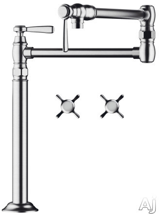 "Hansgrohe 16860001 Deck Mounted Pot Filler with 21"" Reach, 2 Ceramic Shut-off Valves and ADA, U.S. & Canada 16860001"