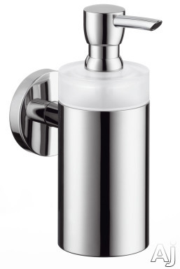 Hansgrohe 40514820 Solid Brass Soap Dispenser with Frosted Glass Tumbler: Brushed Nickel