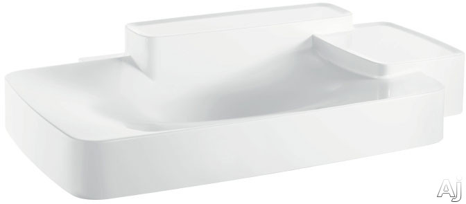 Hansgrohe Axor Bouroullec Series 19944000 Wall-Mounted Washbasin with Two Shelves and Mineral Cast with GelCoat