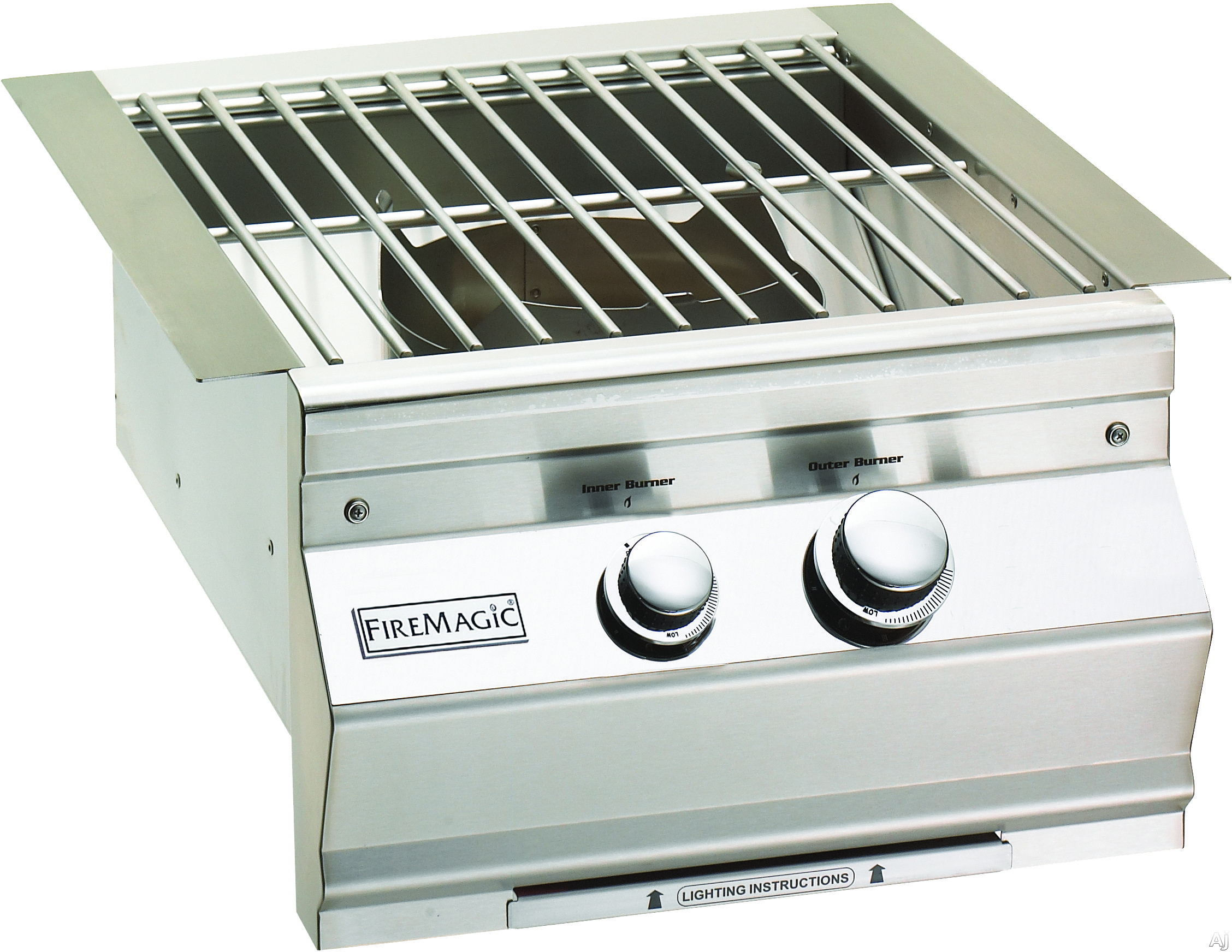 Fire Magic Aurora Collection 19S0B1N0 19 Inch Built-in Power Burner with 60,000 BTU, Cast Brass Burner, Stainless Steel Grid and Electronic Ignition: Natural Gas, Stainless Steel Grid
