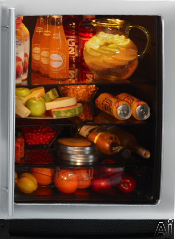 U Line 2000 Series 2175RCG 24 Inch Undercounter Glass Door Refrigerator with 5.4 cu. ft. Capacity, 3 Glass Shelves, Convection Cooling, Crisper Drawer and Touch Glass Digital Controls