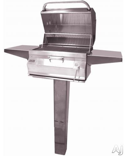 Fire Magic Charcoal Legacy Collection 22SC01CG6 Custom In-Ground Post Charcoal Grill with 432 sq. in. Cooking Area, Warming Rack, Adjustable Charcoal Pan, Smoke
