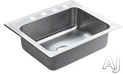 "Moen Camelot 22224 25"" Top-Mount Single Bowl Stainless Steel Sink with 20-Gauge, 7-1/4"" Bowl Depth, 3-1/2"" Drain, SoundShield Undercoating and U Channel Mountin"
