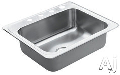 "Moen Excalibur 22869 25"" Top-Mount Single Bowl Stainless Steel Sink with 22-Gauge, 8"" Bowl Depth, 3-1/2"" Drain, SoundShield Undercoating and U Channel Mounting:"