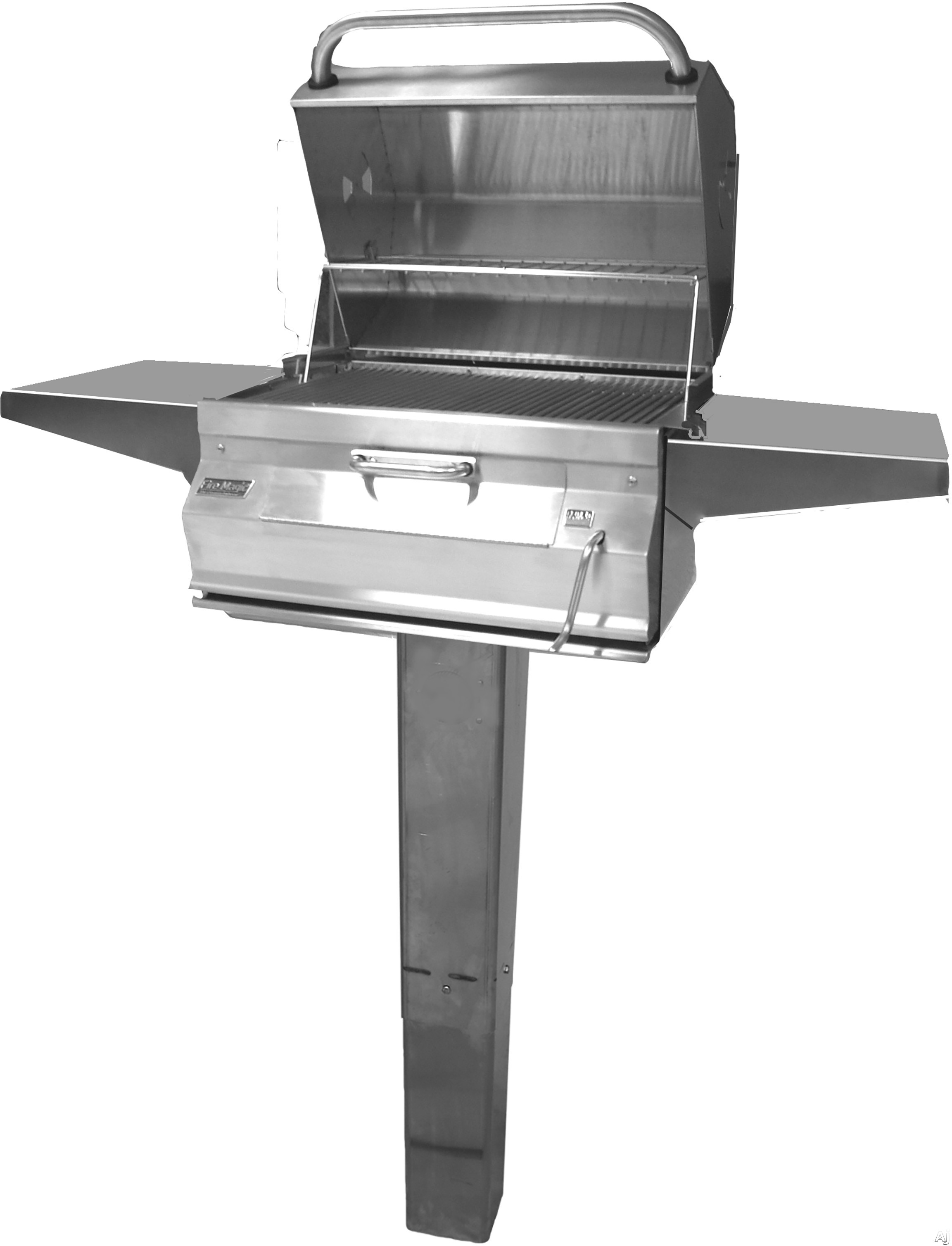 Fire Magic Charcoal Legacy 22SC01CG6 Custom In-Ground Post Charcoal Grill with 432 sq. in. Cooking Area, Warming Rack, Adjustable Charcoal Pan, Smoker Oven and