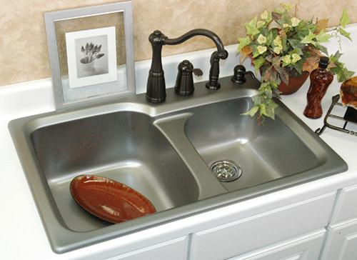 "CorStone 33"" Mantunuck Top Mount Double Bowl Cast Acrylic Kitchen"