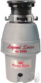 Waste King Legend Easy Mount Series 2600 1/2 HP Continuous Feed Waste Disposer with 2600 RPM Magnet Motor, Stainless Steel Grinding Components, EZ Mount System, Included Power Cord and 5 Years In-Home Service Warranty