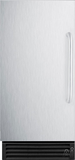 Summit Commercial Series BIM44G 15 Inch Commercial Ice Maker with 25 lbs. Storage Capacity, 50 lbs. Daily Production, Automatic Defrost, Clear Cube Ice and Energy Star Qualified: Stainless Steel