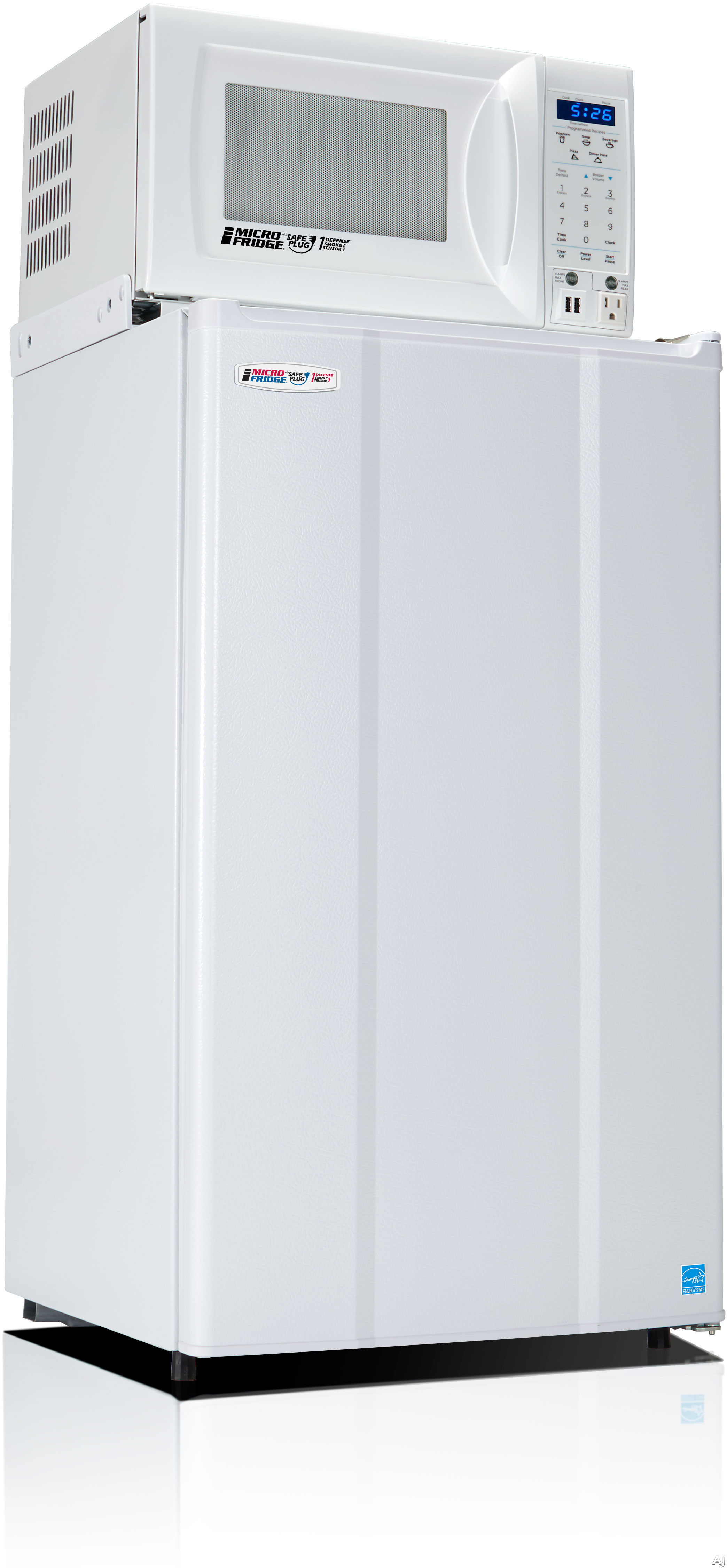 MicroFridge 36MF4A7D1W 3.6 cu. ft. Compact Refrigerator with Ice Compartment, Crisper Drawer, 700 Watt Microwave, 1st Defense Smoke Sensor, Safe Plug Technology, ENERGY STAR and USB/Outlet Charging Station: White