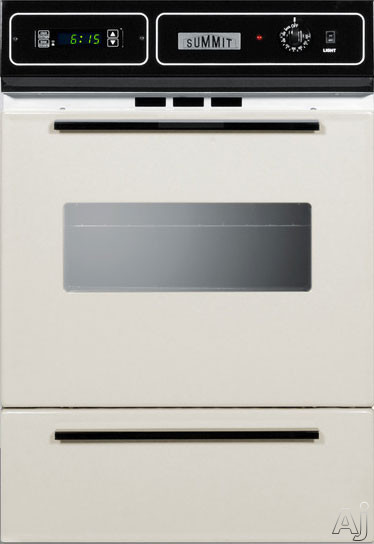 Summit STM7212KW 24 Inch Single Gas Wall Oven with Removable Door, Electronic Ignition, LP Conversion, Porcelain Interior, Lower Broiler, Digital Clock, Timer, Interior Light and 2.92 cu. ft. Capacity