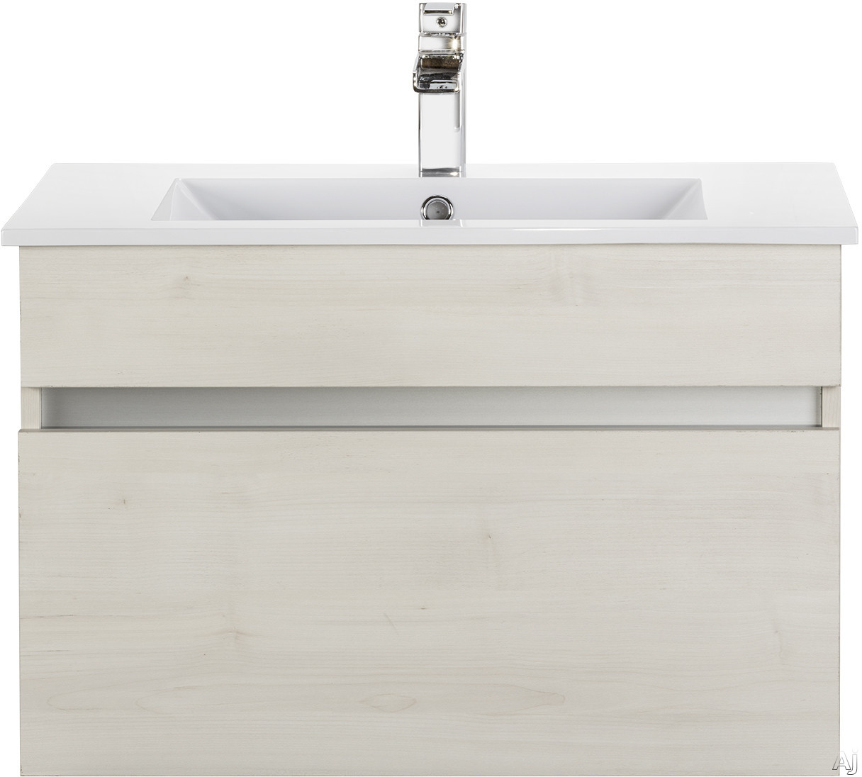 Cutler Kitchen & Bath Ivory FVCHFH30 30 Inch Wall Mount Bathroom Vanity with 1 Soft Close Drawer, Countertop and Sink and European Soft-Close Hardware: Fogo Harbor