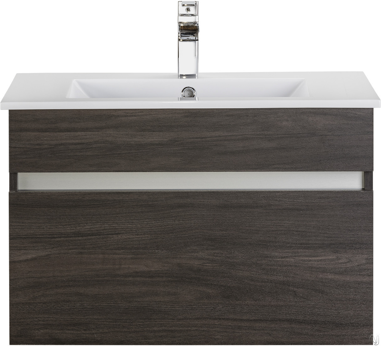 Cutler Kitchen & Bath Ivory FVCHKA30 30 Inch Wall Mount Bathroom Vanity with 1 Soft Close Drawer, Countertop and Sink and European Soft-Close Hardware: Karoo Ash