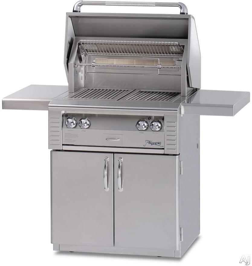 Alfresco LX2 ALX230C 30 Inch Freestanding Gas Grill with 542 sq. in. Cooking Surface, 2 Stainless Steel Main Burners, Integrated Rotisserie Motor and Halogen Work Lights ALX230C