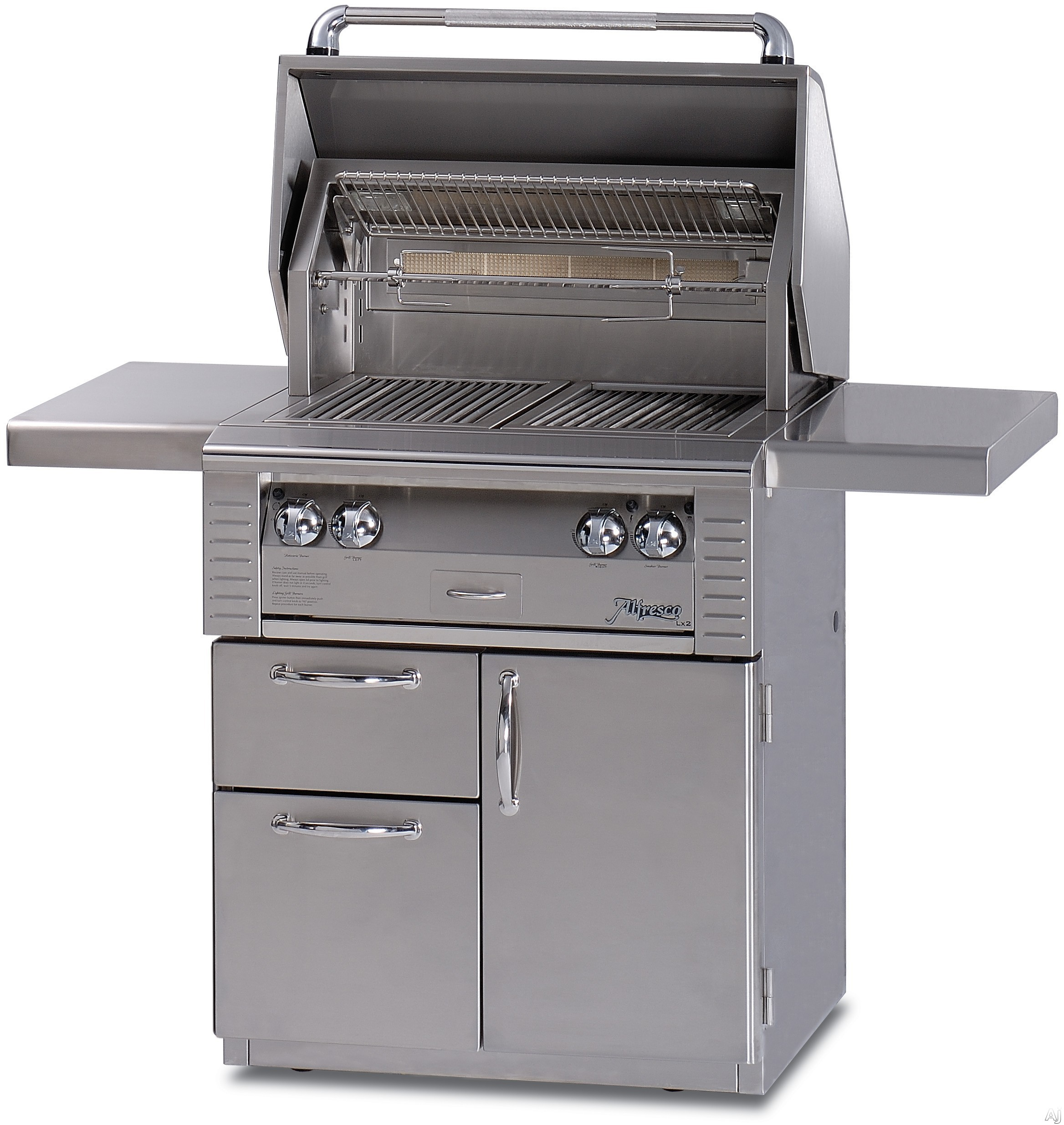Alfresco LX2 ALX230CD 30 Inch Freestanding Gas Grill with 542 sq. in. Cooking Surface, 2 Stainless Steel Main Burners, Integrated Rotisserie Motor, Halogen Work Lights and 2 Access Drawers ALX230CD