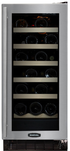 """Marvel Luxury Series 30WCMBSGR 15"""" Wine Cellar with 23-Bottle Capacity Including Magnums, 5 Extendable Racks, Amber LED Display, Electronic MicroSentry Controls and Right Hinge Door Opening: Stainless Steel Frame Glass Door"""