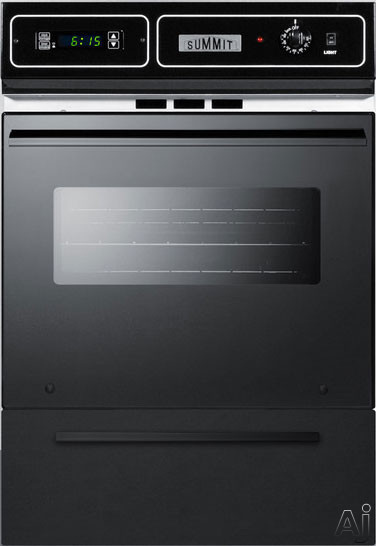 Summit TTM7212DK 24 Inch Single Gas Wall Oven with Removable Door, LP Conversion, Electronic Ignition, Porcelain Interior, Lower Broiler, Digital Clock, Timer, Interior Light and 2.92 cu. ft. Capacity