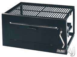 """Fire Magic Charcoal Legacy Collection 3339 24"""" Lift-A-Fire Built-in Charcoal Grill with 368 sq. in. Cooking Area, Adjustable Charcoal Pan and Black Powder Coat Enamel Finish"""