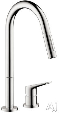 Hansgrohe Axor Citterio M Series 34822001 2-hole Pull-down Kitchen Faucet With 2.2 Gpm, 150-¦ Swivel Range, Laminar/needle Spray, Toggle Spray Diverter, Magfit Magnetic Docking And Ceramic Cartridge: Chrome