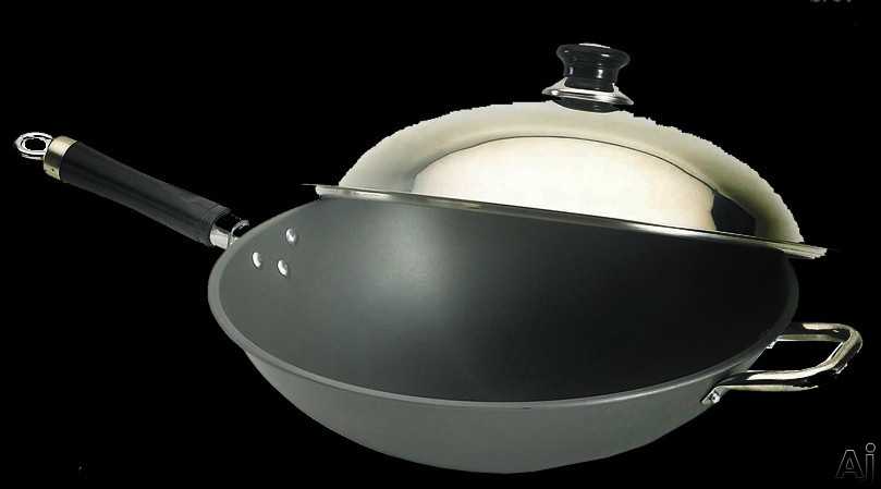 """Fire Magic 3572 15"""" Wok Hard Anodized with Stainless Steel Cover, U.S. & Canada 3572"""