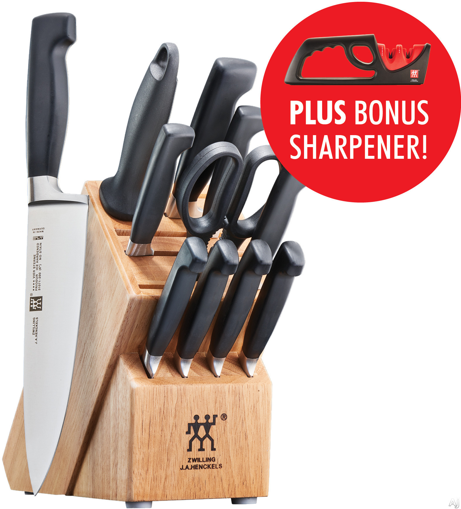 Zwilling J.A. Henckels 35740013 Four Star 13-Piece Knife Block Set with Full Bolsters, High-Carbon Stainless Steel, Ice-Hardened Blades, Hand Wash Only and Manufactured in Germany