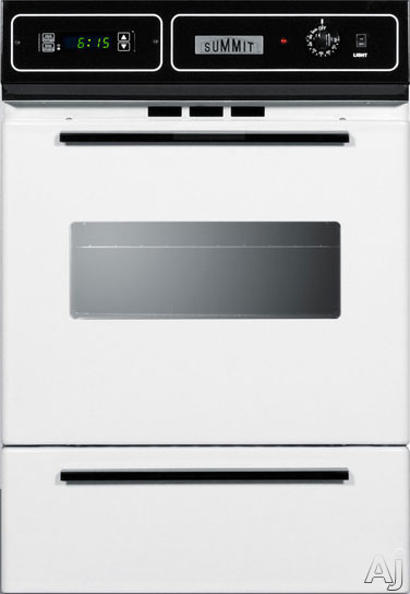 Summit WTM7212KW 24 Inch Single Gas Wall Oven with Removable Door, Electronic Ignition, LP Conversion, Porcelain Interior, Lower Broiler, Digital Clock, Timer, Interior Light and 2.92 cu. ft. Capacity