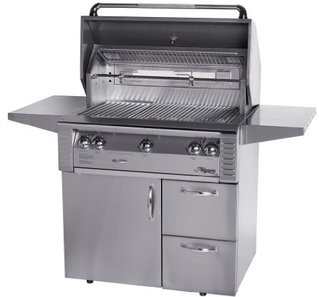 Alfresco LX2 ALX236CD 36 Inch Freestanding Gas Grill with 660 sq. in. Cooking Surface, Stainless Steel Main Burners, Integrated Rotisserie Motor, Halogen Work Lights and 2 Access Drawers ALX236CD