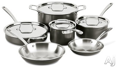All Clad LTD30010R 10-Piece LTD Cookware Set with 3-Ply Stainless Steel, Polished Surface, Stainless Steel Handles, Induction Suitable, Oven Safe, Dishwasher Safe and Limited Lifetime Warranty