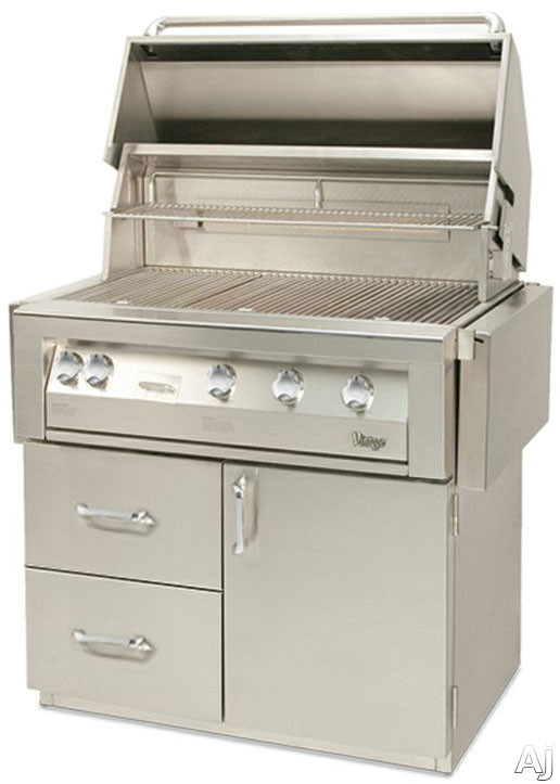Vintage VBQ42G 42 Inch Built-in Gas Grill with 770 sq. in. Cooking Surface, 82,500 Primary Burner BTUs, Rotisserie Kit, Smoker, Full-Size Drip Tray and Halogen Lighting VBQ42G
