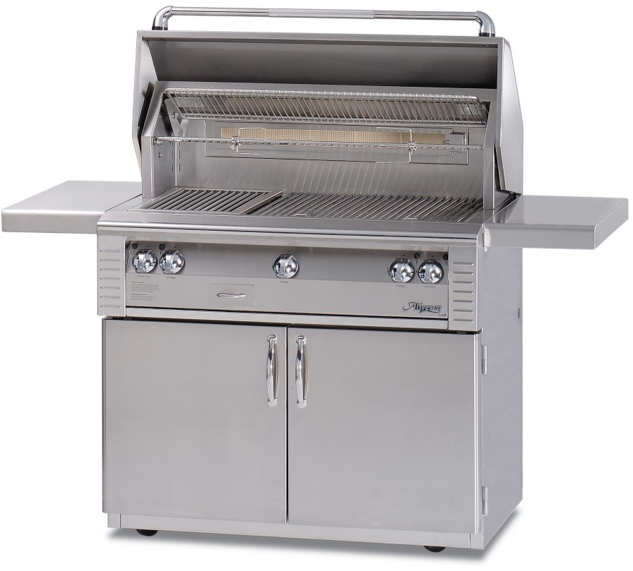Alfresco LX2 ALX242C 42 Inch Freestanding Gas Grill with 770 sq. in. Cooking Surface, Stainless Steel Main Burners, Integrated Rotisserie Motor and Halogen Work Lights ALX242C