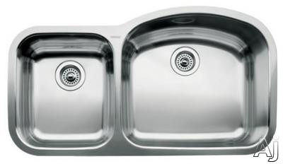 "Blanco Wave 440241 37"" Undermount Double Bowl Stainless Steel Sink with 18-Gauge, 18/10 Chrome/Nickel Content, 3-1/2"" Drain and Satin Polished Finish: 10"" and 7"