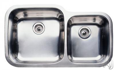 "Blanco Supreme 440157 35"" Undermount Double Bowl Stainless Steel Sink with 10"" Large Bowl Depth, 18-Gauge, 18/10 Chrome/Nickel Content and 3-1/2"" Drains"